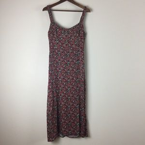 Zara red and black floral print maxi dress - Large